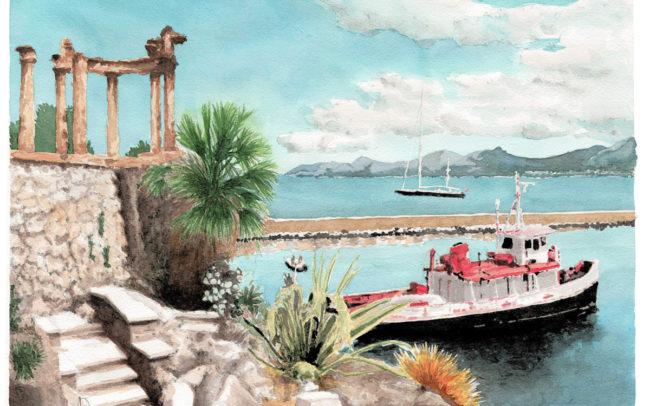 aquarelle-palerme-port